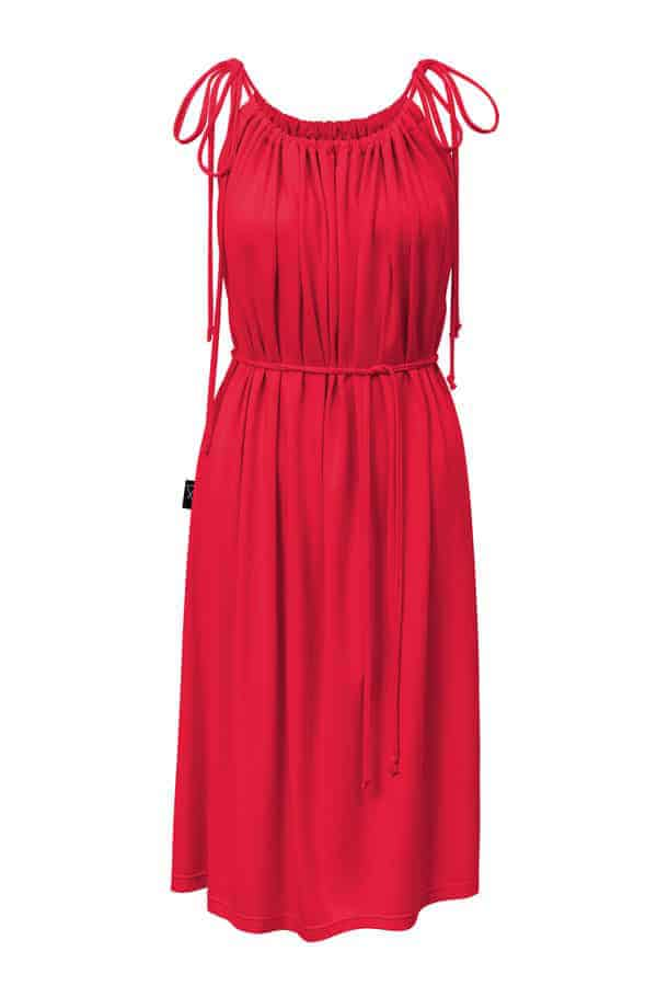 Šaty řasené- červené
