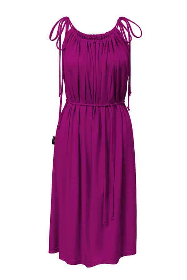 Šaty řasené- purpurové