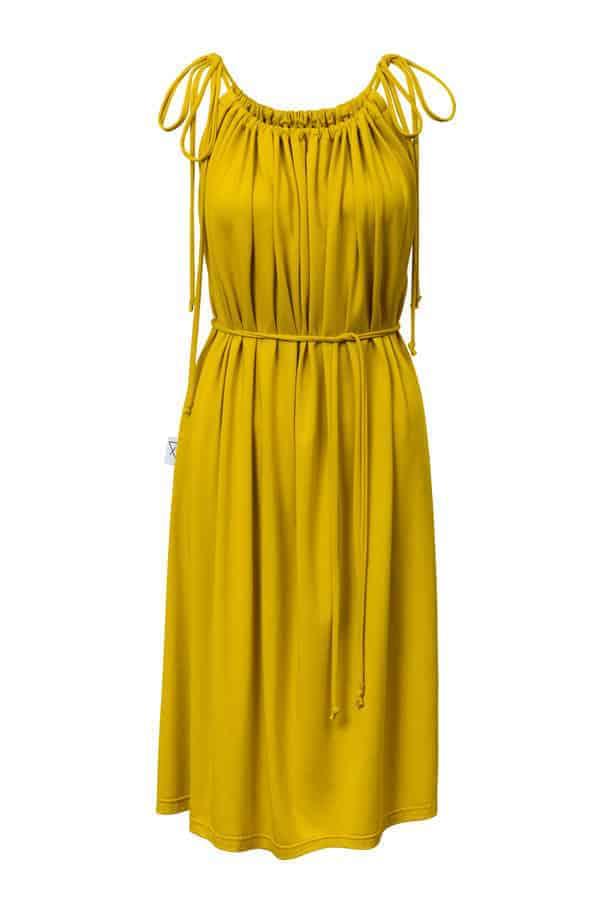 Šaty řasené- žluté
