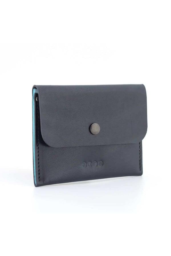 Kožená peněženka PETIT - černo tyrkysová