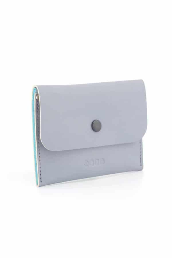 Kožená peněženka PETIT - šedo tyrkysová