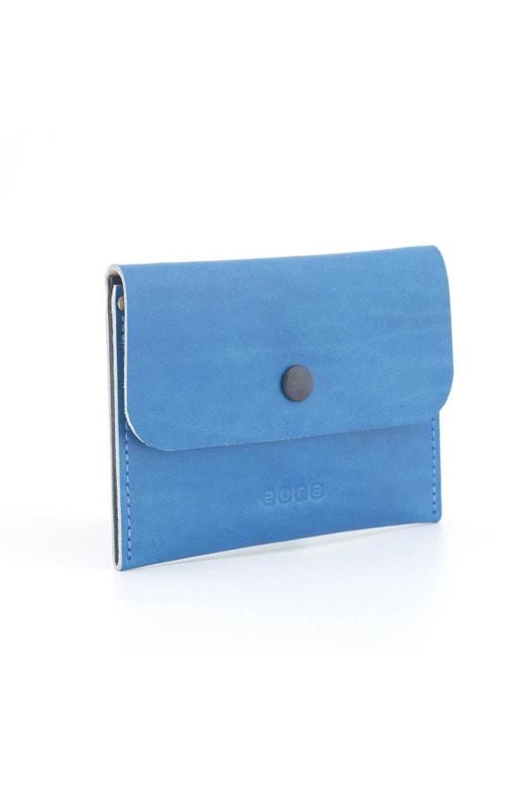 Kožená peněženka PETIT - tyrkysovo černá
