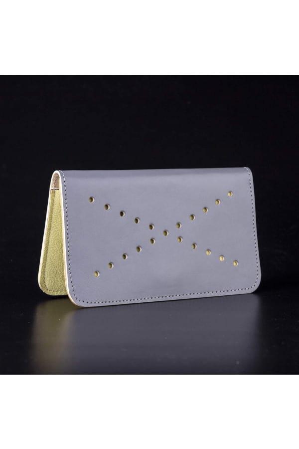 Kožená peněženka VIVID - šedo žlutá
