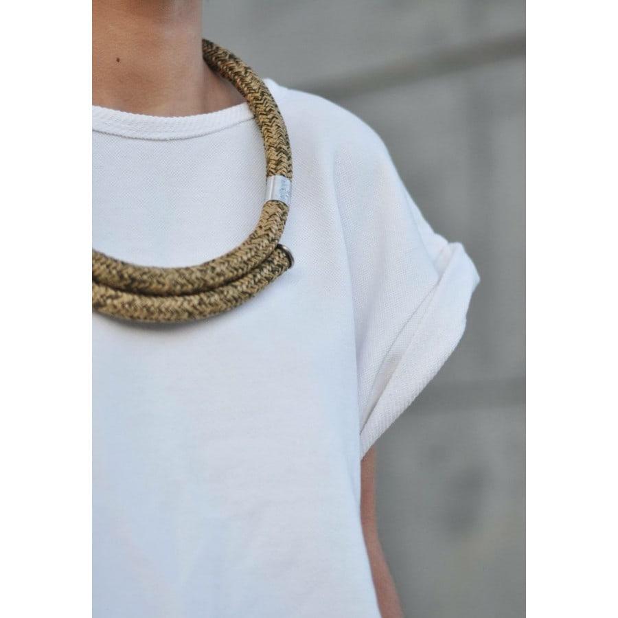 sale! kruhový KHAKI náhrdelník buchy