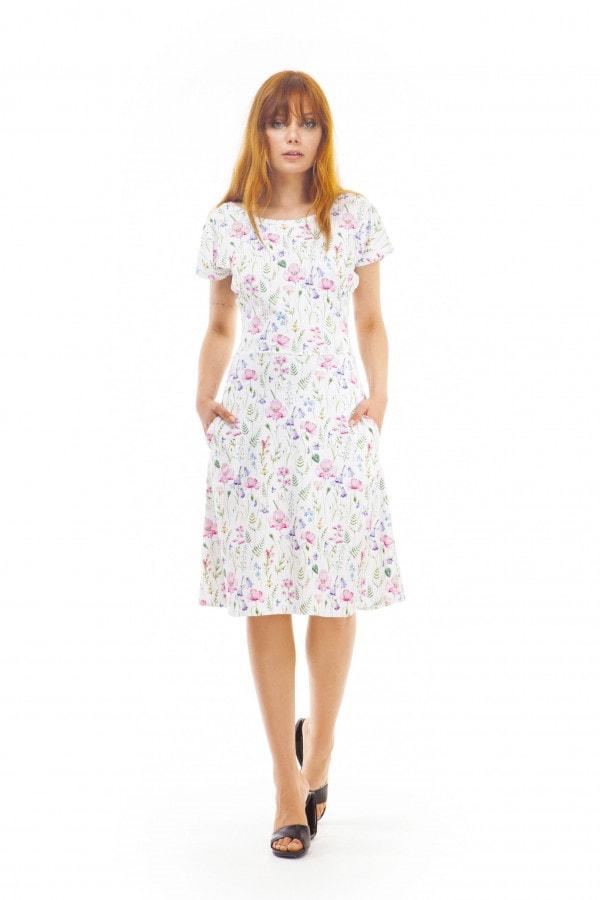 Šaty s lučními květy do A s přestřiženým pasem