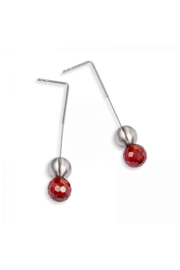 earring 075 červený zirkon / kolekce red-esign