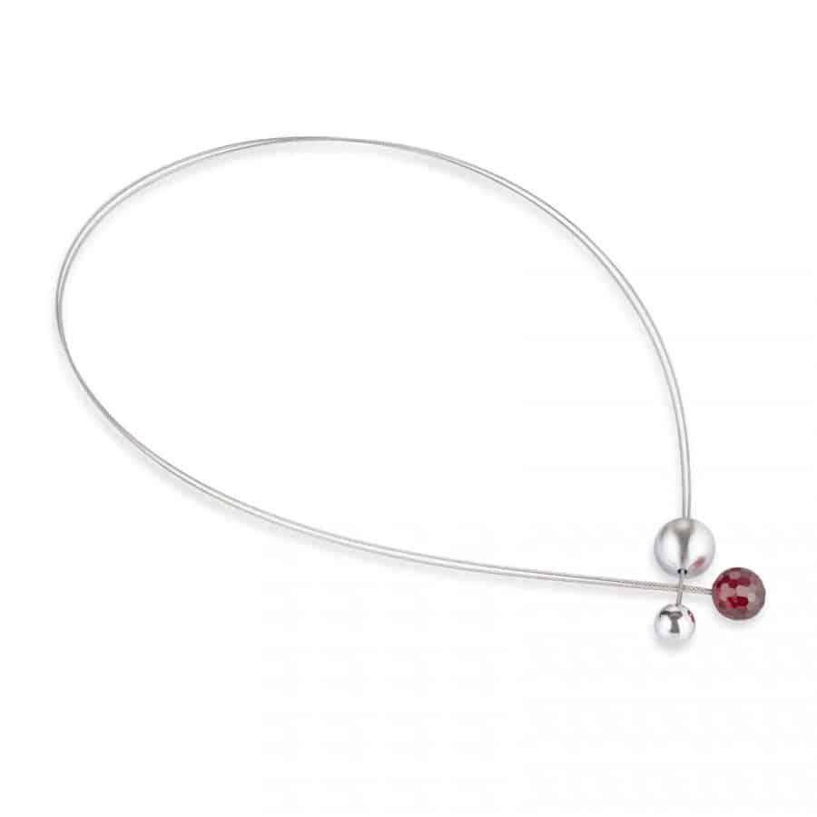 necklace 070 červený zirkon / kolekce red-esign