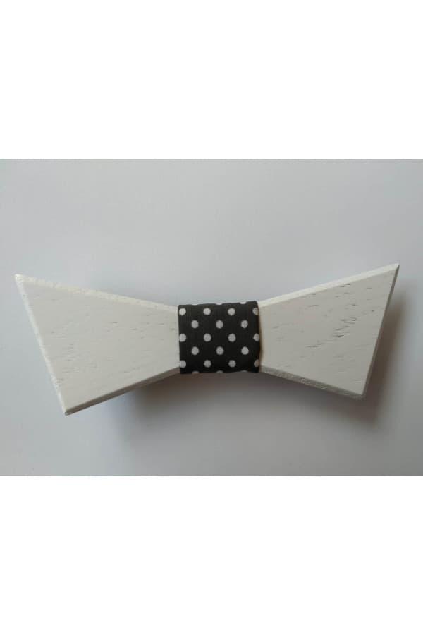 Dřevěný motýlek Bílý s černým vázáním s bílými puntíky