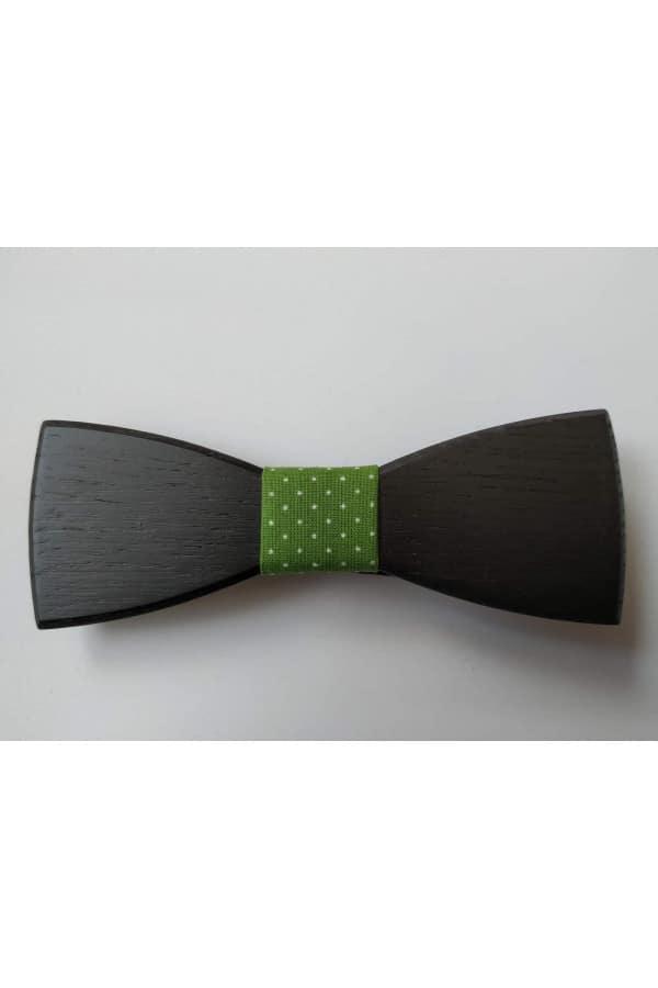 Dřevěný motýlek černý se zeleným vázáním s bílými puntíky