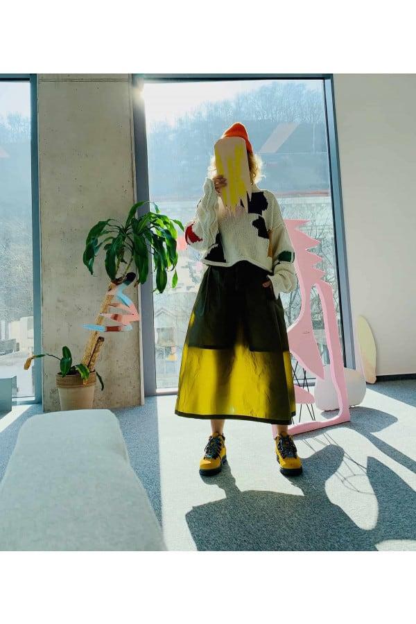 Parachute A-Line Skirt /gold