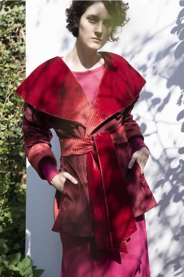Červený oboustranný zerowaste kabát