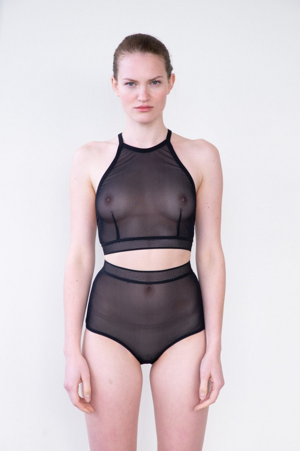HIGH WAISTED BRIEF IN BLACK MESH