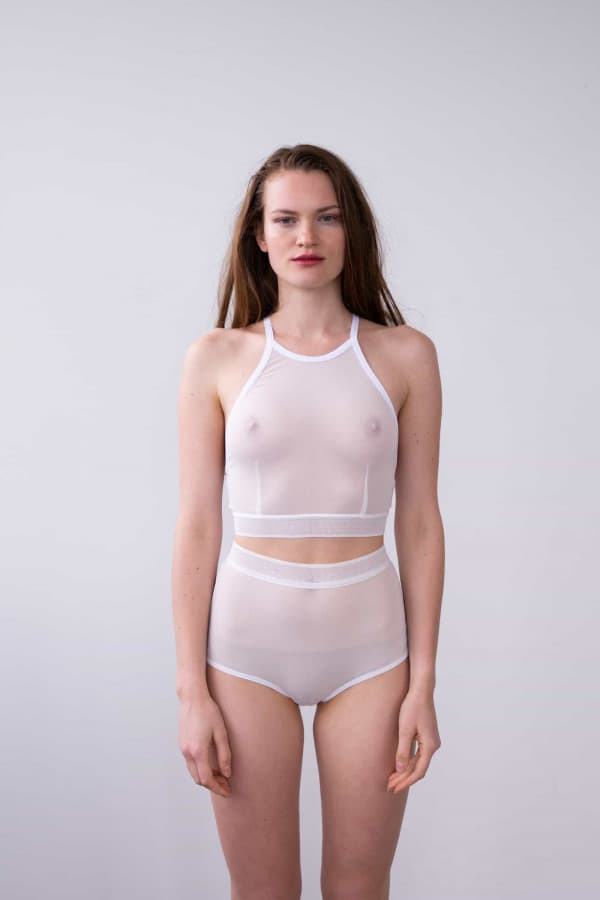 HIGH WAISTED BRIEF IN WHITE MESH