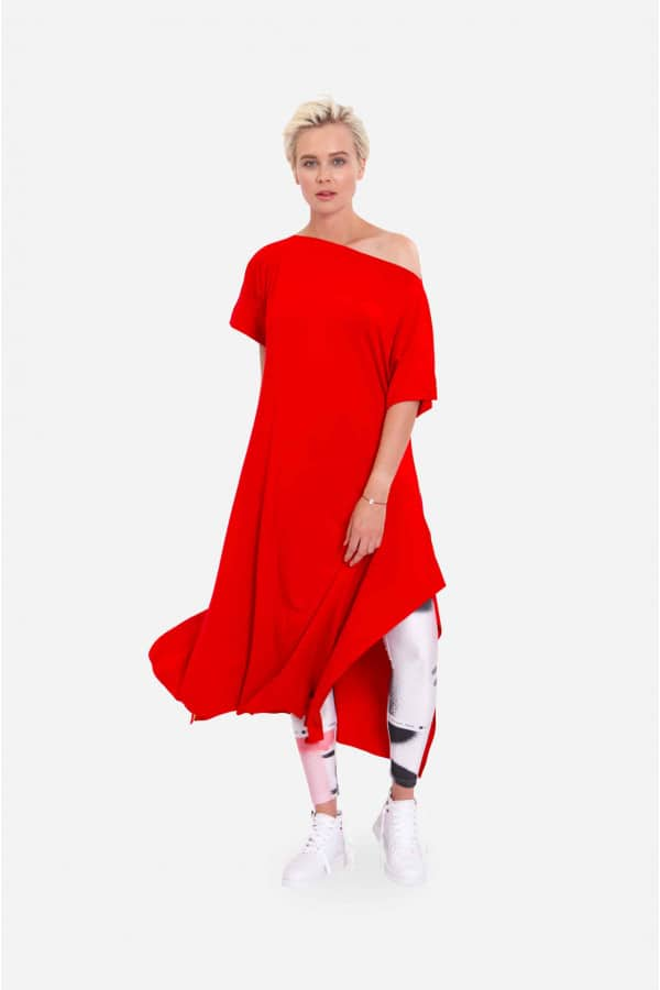 "RED JERSEY DRESS ""KNOT"""