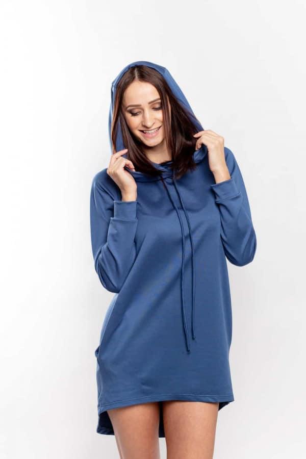 mikinové šaty modré