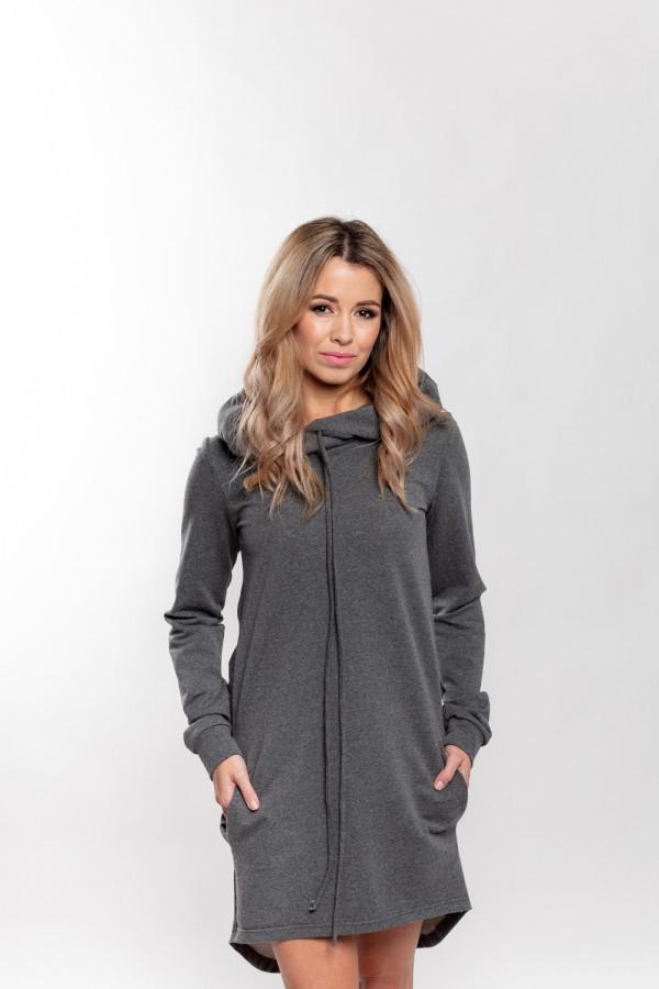 mikinové šaty šedé