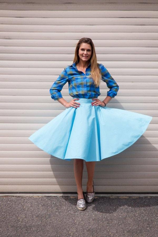 sukně kolová modrá