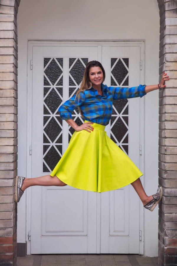 sukně kolová neonová žlutá