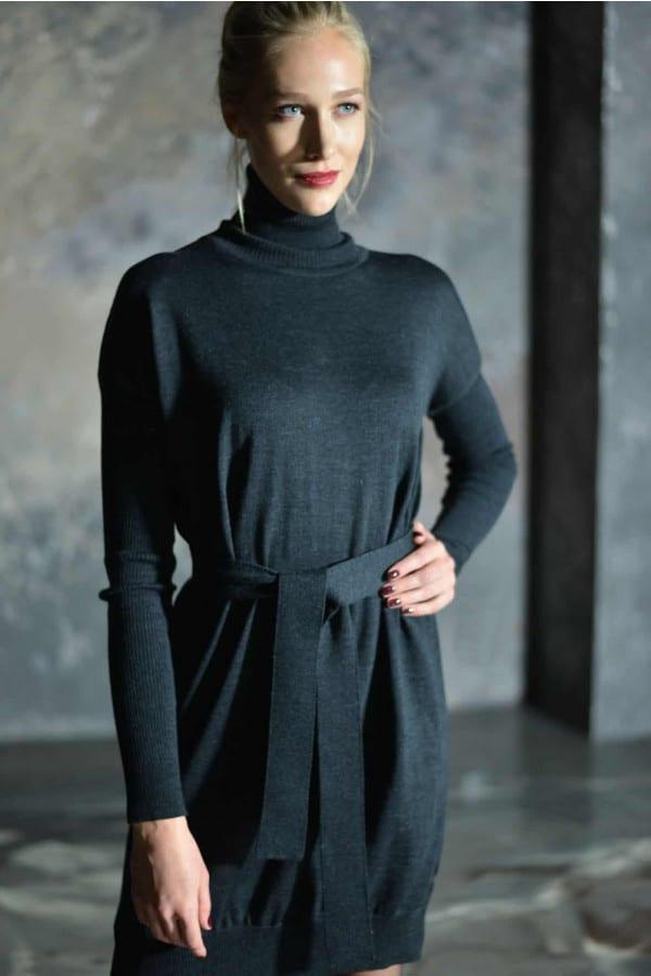 Rolákové merino šaty - MIK - antracitové