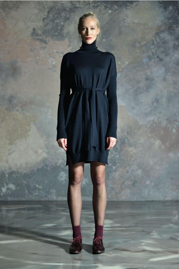 Rolákové merino šaty MIK - černé
