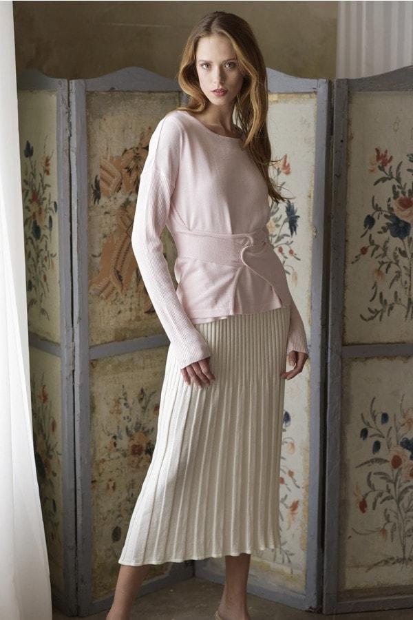 Zavinovací bambusový svetr - sv. růžový - MIK