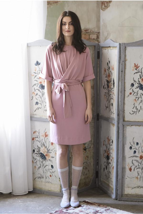 Zavinovací šaty - starorůžové - MIK