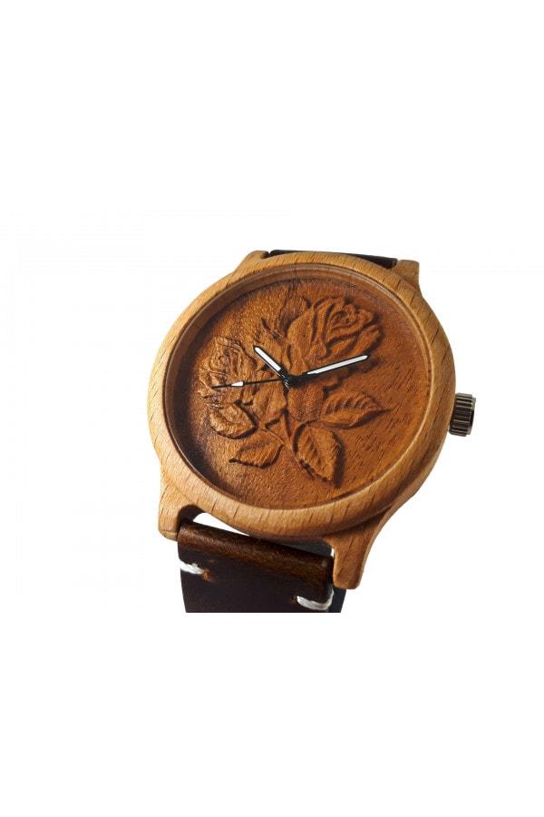 Dřevěné 3D hodinky - Růže květ
