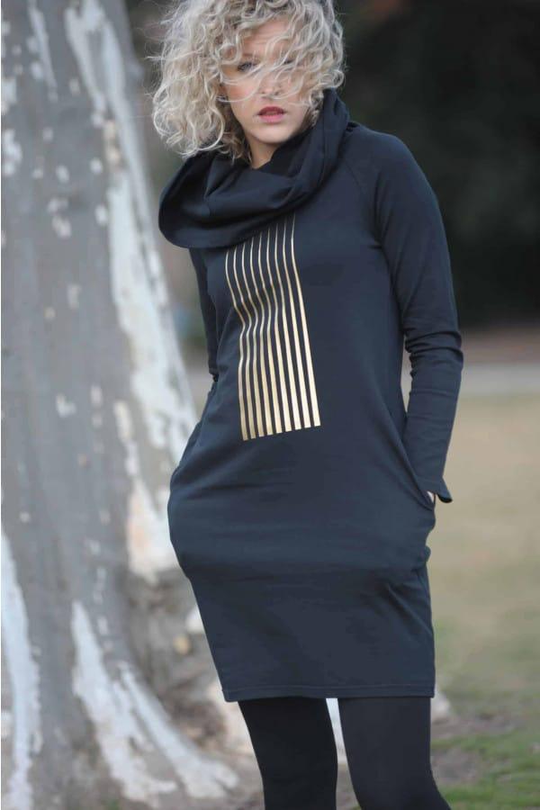 FNDLK úpletové šaty 279 s MAXI límcem