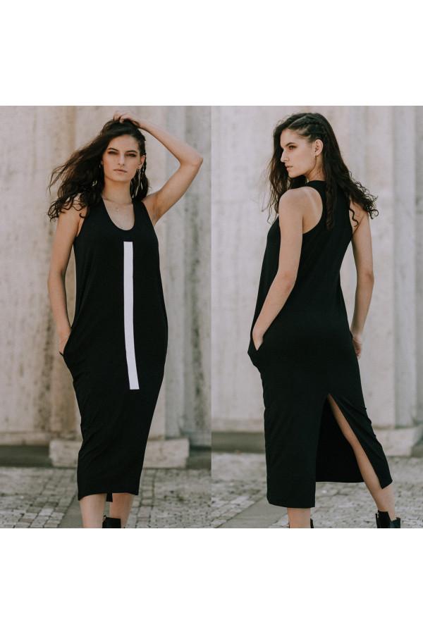 FNDLK úpletové šaty 393 RHB maxi s rozparkem