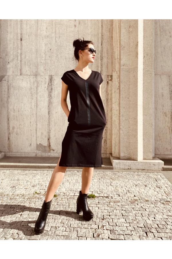 FNDLK úpletové šaty 468 RV midi s rozparkami