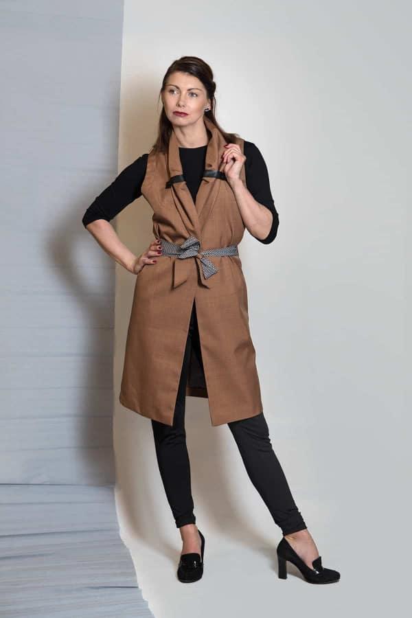 Podzimní softshellová vesta Norr_capuccino