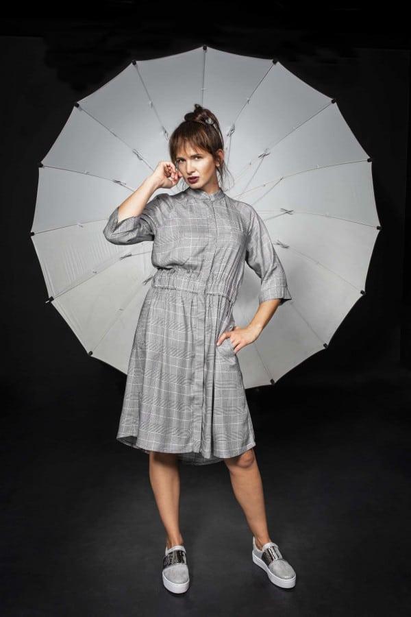 Košilové šaty Samourai Design kostkované
