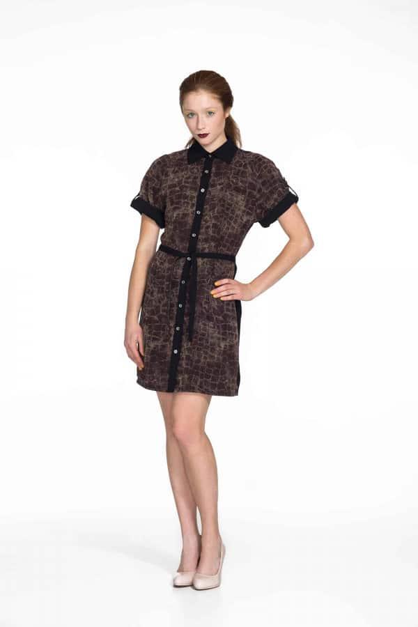 Košilové šaty Samourai Design s vázáním v pase