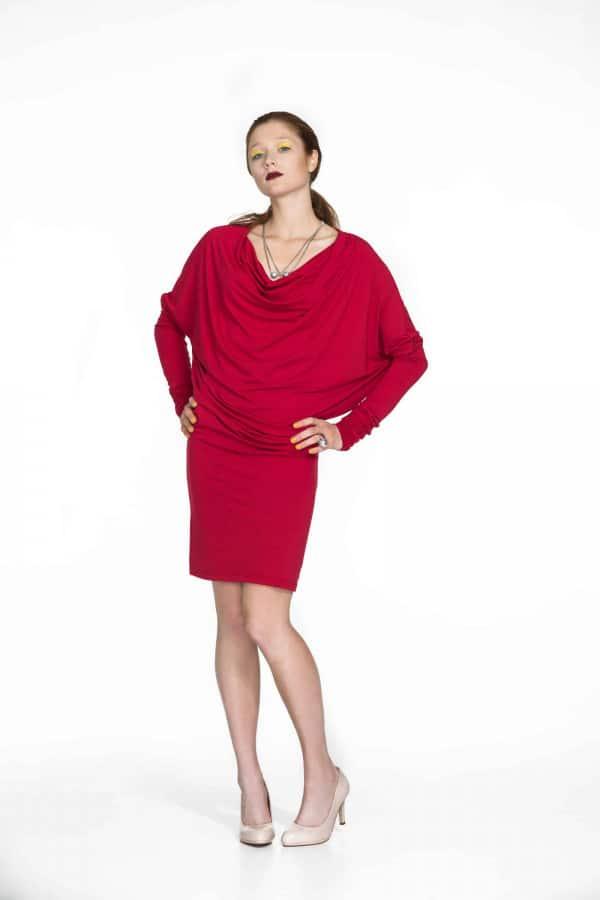 šaty s nekonečným rukávem červené