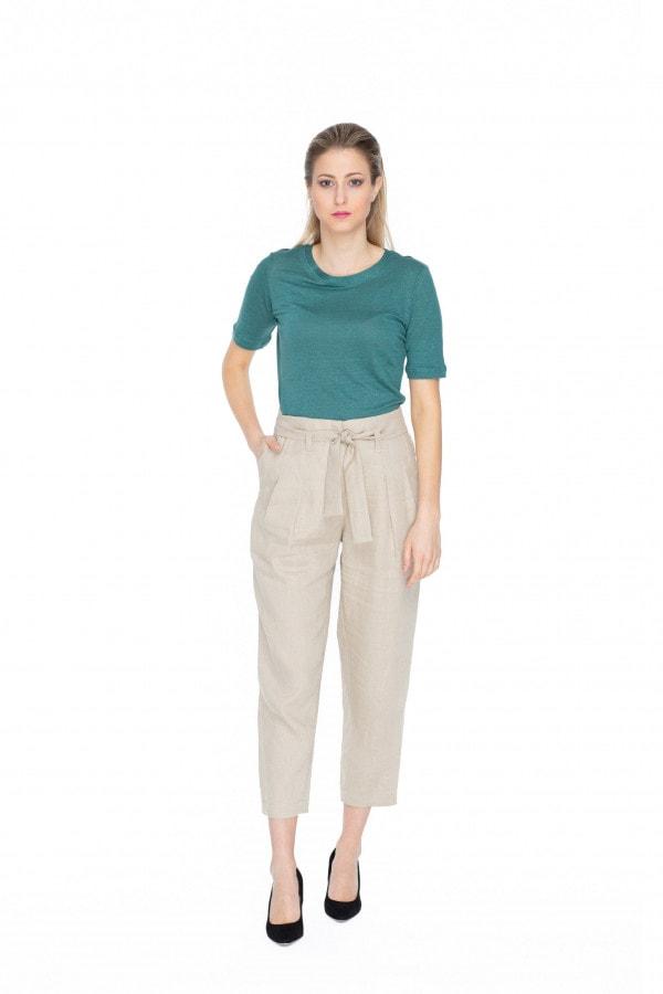 Béžové lněné kalhoty