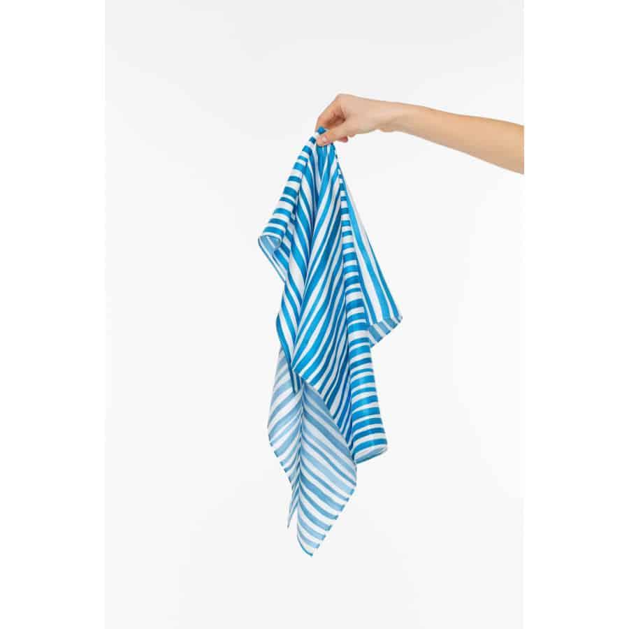 Bílo-modrý hedvábný šátek - velký