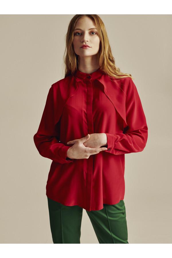 Červená hedvábná trench košile