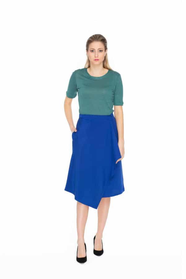Kobaltově modrá midi zavinovací sukně