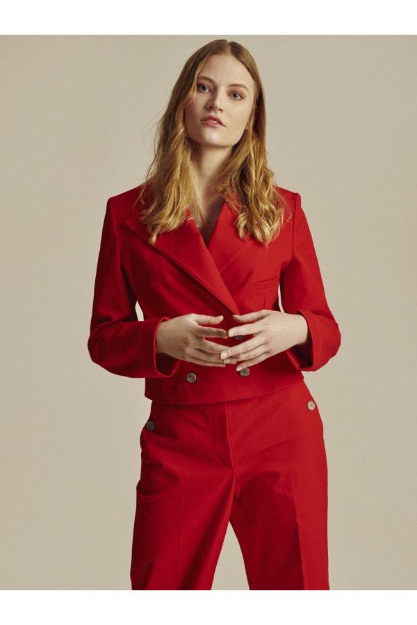 Krátké červené bavlněné sako