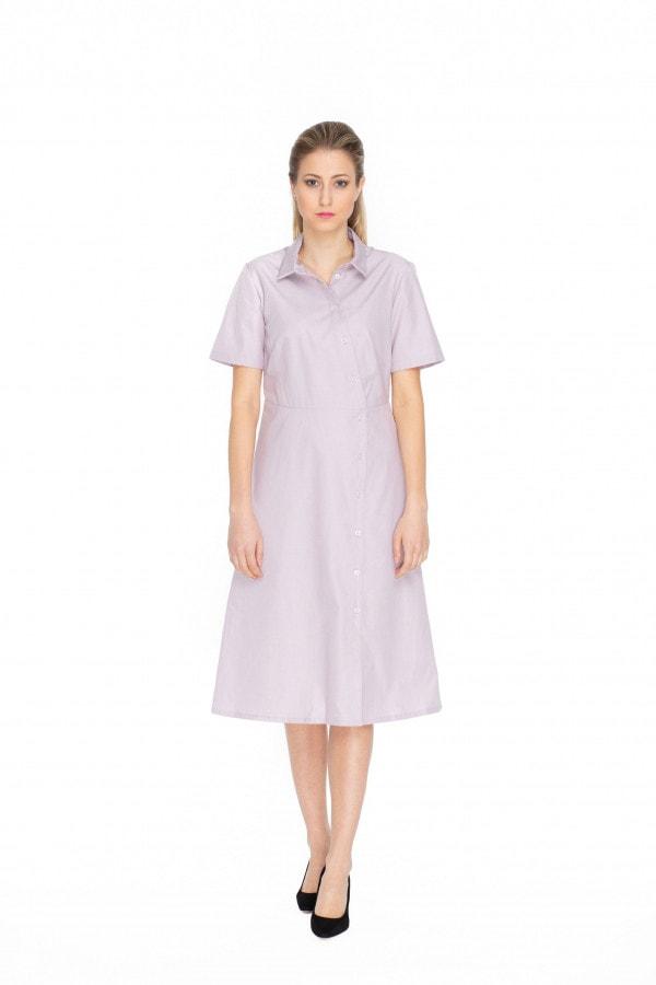 Lila bavlněné košilové midi šaty