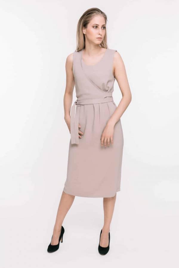 Pískové viskózové šaty bez rukávů