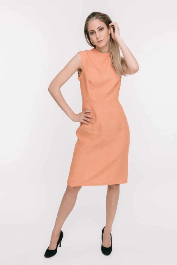 SALE! - Oranžové lněné šaty bez rukávů