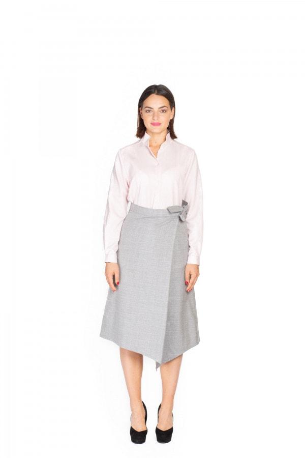 Šedá kostkovaná vlněná asymetrická sukně