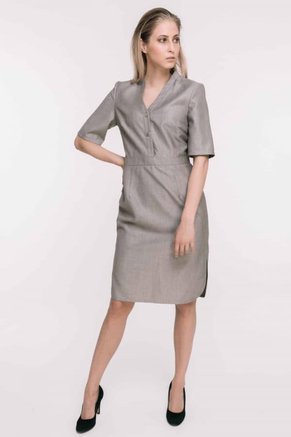 Šedé midi vlněné šaty s krátkým rukávem