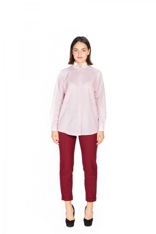 Světle růžová vlněná košile