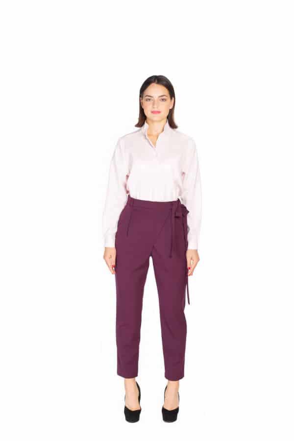 Tmavě fialové vlněné kalhoty