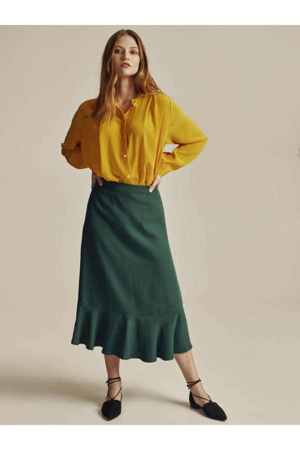 Zelená Tencelová midi sukně