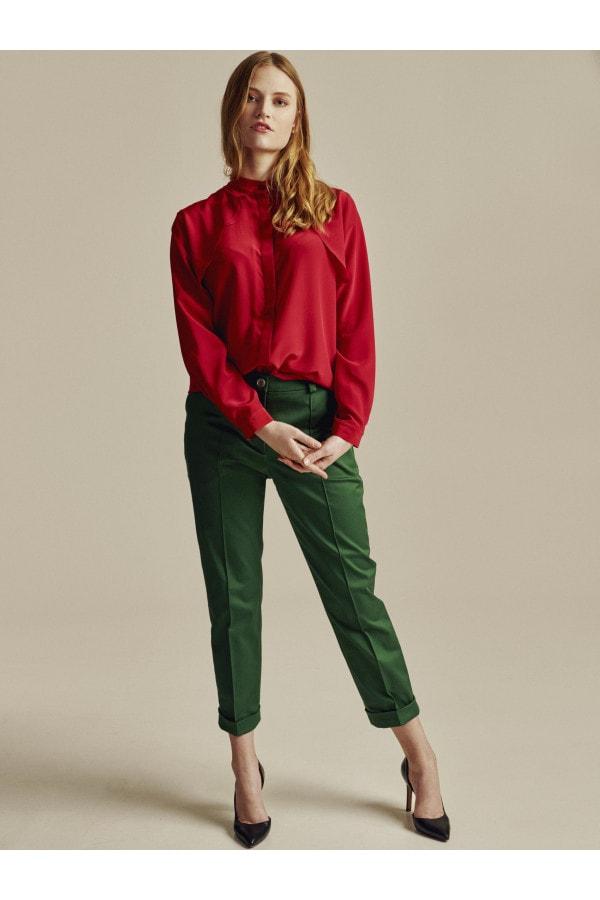 Zelené bavlněné cigaretové kalhoty s prošitím