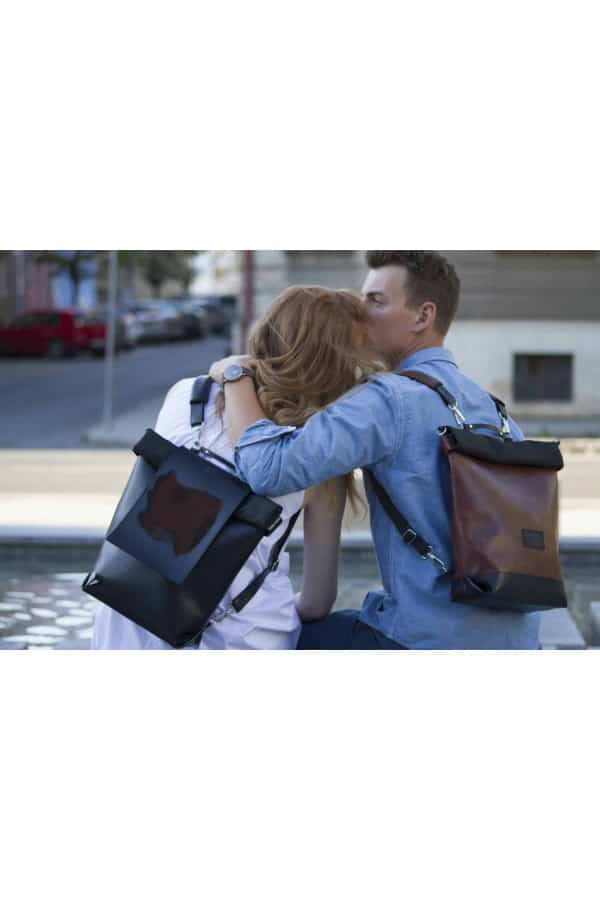 TEABAG batoh+taška v jednom - hnědá