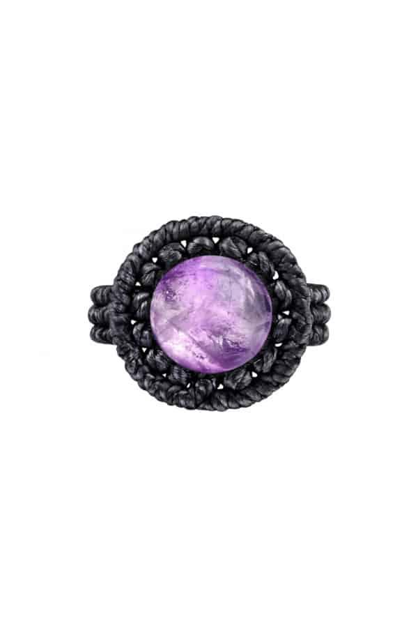 Drhaný prsten s ametystem